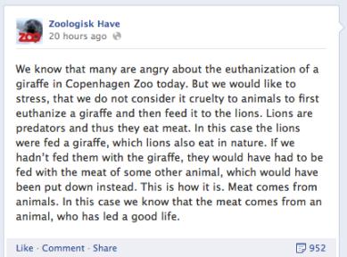 Copenhagen Zoo's Facebook Status